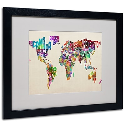 Michael Tompsett 'Typography World Map II' Matted Framed Art - 11x14 Inches - Wood Frame