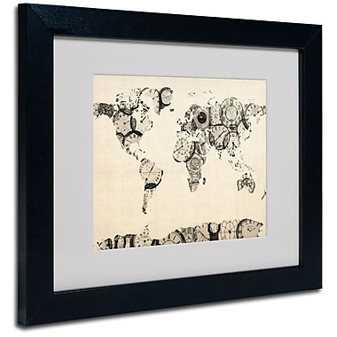 Trademark Fine Art Michael Tompsett 'Old Clocks World Map' Matted Art Black Frame 11x14 Inches