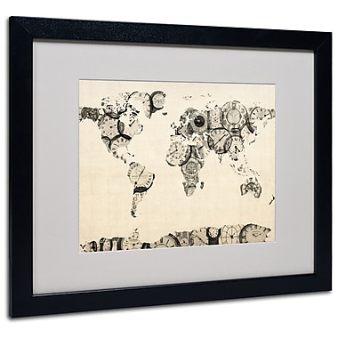 Michael Tompsett 'Old Clocks World Map' Matted Framed Art - 11x14 Inches - Wood Frame