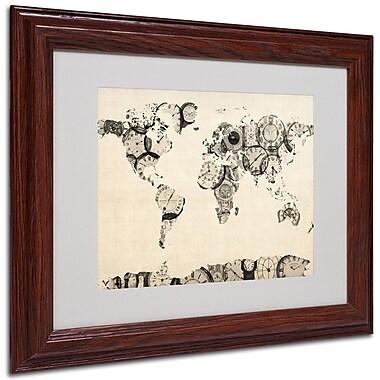 Michael Tompsett 'Old Clocks World Map' Matted Framed Art - 16x20 Inches - Wood Frame