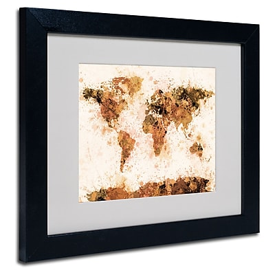 Trademark Fine Art Michael Tompsett 'Bronze Paint Splash World Map' Matted Fram Black Frame 11x14 Inches