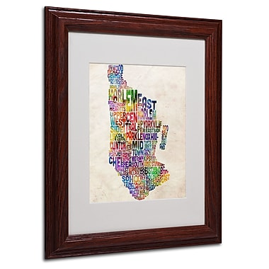 Michael Tompsett 'Manhatan Typography Map' Matted Framed Art - 16x20 Inches - Wood Frame