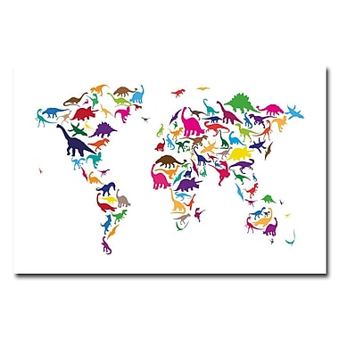 Trademark Fine Art Michael Tompsett 'Dinosaur World Map' Canvas Art 22x32 Inches, MT0049-C2232GG