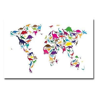 Trademark Fine Art Michael Tompsett 'Dinosaur World Map' Canvas Art 22x32 Inches, MT0049-C2232GG