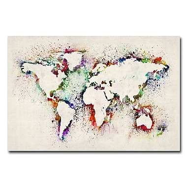 Trademark Fine Art Michael Tompsett 'World Map-Paint Splashes' Canvas Art 16x24 Inches