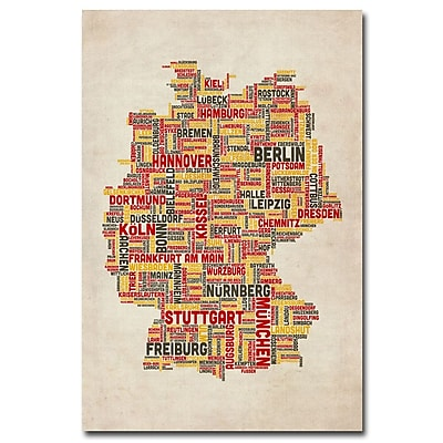 Trademark Fine Art Michael Tompsett 'Germany-Cities Text Map' Canvas Art 22x32 Inches
