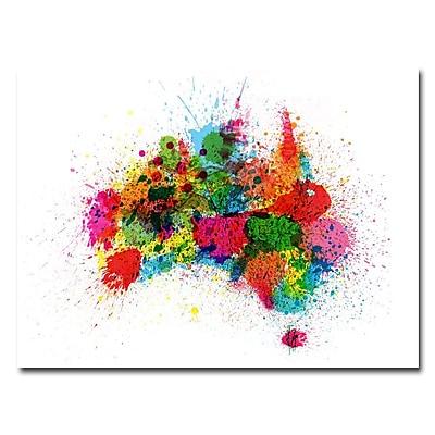 Trademark Fine Art Michael Tompsett 'Australia Paint Splashes' Canvas Art 24x32 Inches