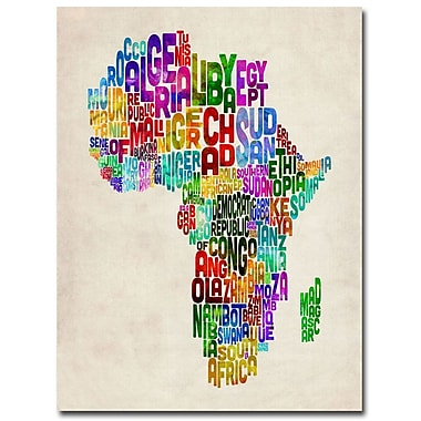 Trademark Fine Art Michael Tompsett 'Africa Text Map' Canvas Art 18x24 Inches