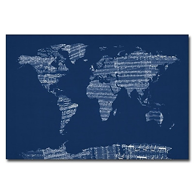 Trademark Fine Art Michael Tompsett 'US Cities Text Map' Canvas Art