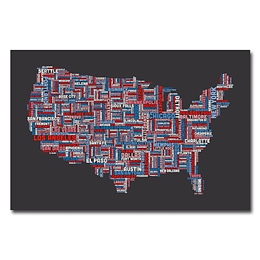 Trademark Fine Art Michael Tompsett 'US Cities Text Map III' Canvas Art