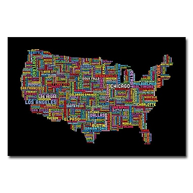 Trademark Fine Art Michael Tompsett 'US Cities Text Map II' Matted Art Black Frame 11x14 Inches