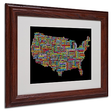 Michael Tompsett 'US Cities Text Map II' Matted Framed Art - 16x20 Inches - Wood Frame