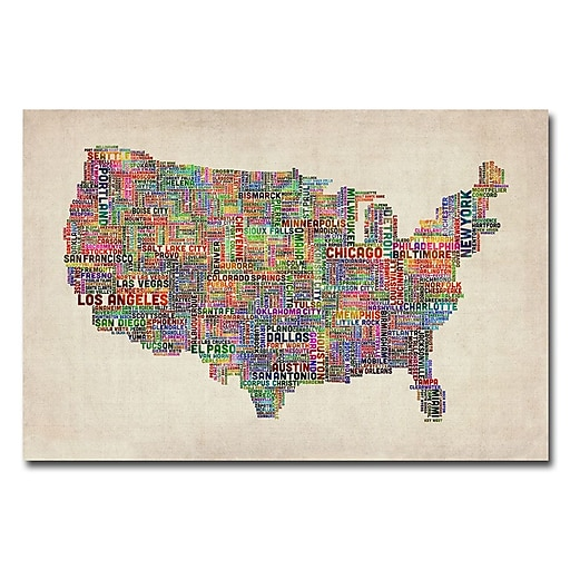 Trademark Fine Art Michael Tompsett 'US Cities Text Map VI' Canvas Art 18x24 Inches