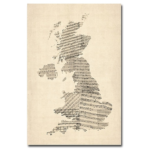 Trademark Fine Art Michael Tompsett 'UK Music Map' Canvas Art 30x47 Inches