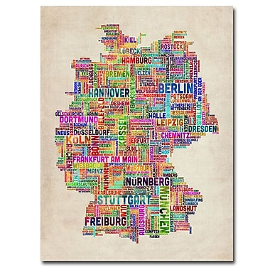 Trademark Fine Art Michael Tompsett 'Germany Text Map' Canvas Art 35x47 Inches