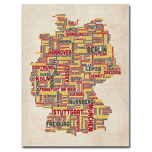 Trademark Fine Art Michael Tompsett 'Germany Text Map II' Canvas Art 18x24 Inches, MT0082-C1824GG
