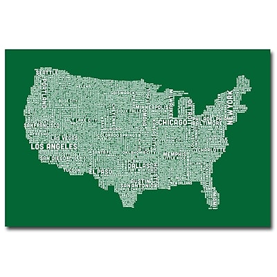 Trademark Fine Art Michael Tompsett 'US City Map III' Canvas Art 22x32 Inches