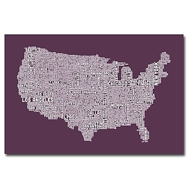Trademark Fine Art Michael Tompsett 'US City Map IV' Canvas Art 30x47 Inches