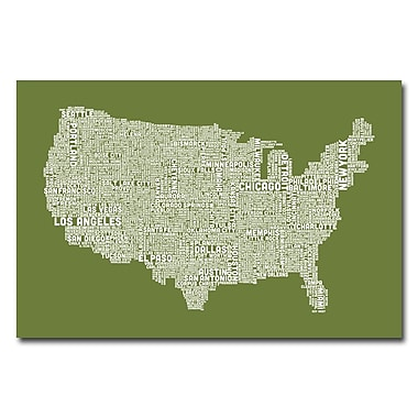 Trademark Fine Art Michael Tompsett 'US City Map VI' Canvas Art 30x47 Inches