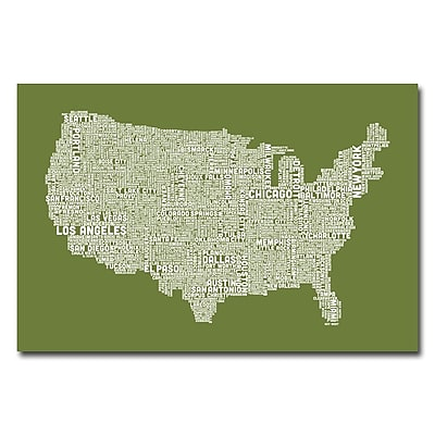 Trademark Fine Art Michael Tompsett 'US City Map VI' Canvas Art 16x24 Inches