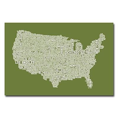 Trademark Fine Art Michael Tompsett 'US City Map VI' Canvas Art 22x32 Inches