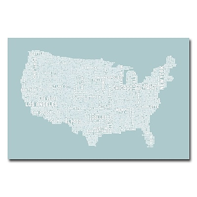 Trademark Fine Art Michael Tompsett 'US City Map VIII' Canvas Art 16x24 Inches