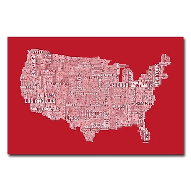 Trademark Fine Art Michael Tompsett 'US City Map XI' Canvas Art 22x32 Inches