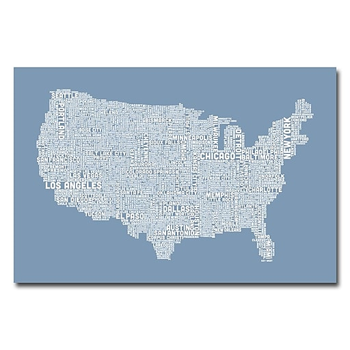 Trademark Fine Art Michael Tompsett 'US City Map XII' Canvas Art 16x24 Inches
