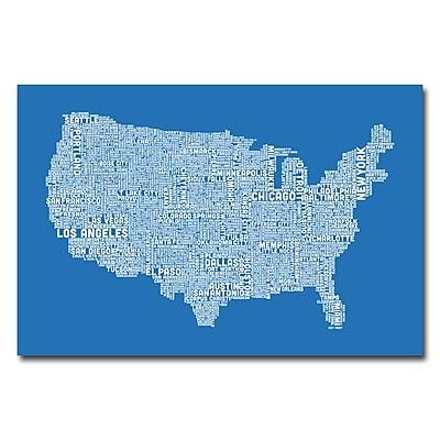 Trademark Fine Art Michael Tompsett 'US City Map XIII' Canvas Art 30x47 Inches