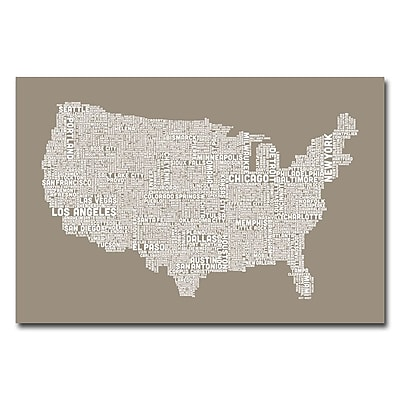 Trademark Fine Art Michael Tompsett 'US City Map XIV' Canvas Art 16x24 Inches