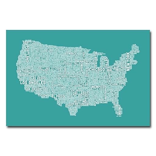 Trademark Fine Art Michael Tompsett 'US City Map XV' Canvas Art 30x47 Inches