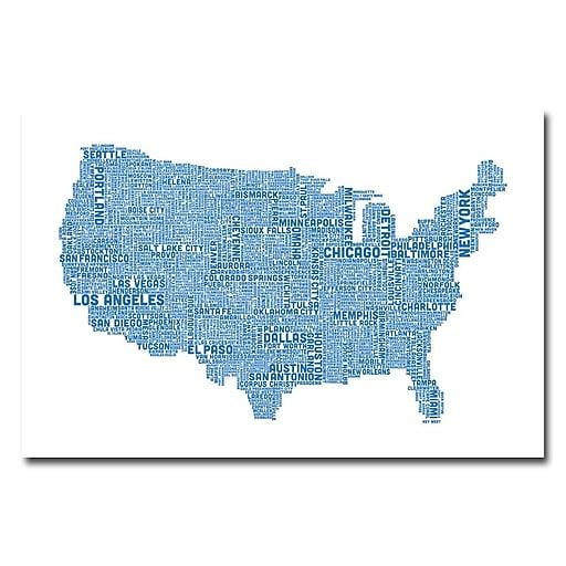 Trademark Fine Art Michael Tompsett 'US City Map XVI' Canvas Art 22x32 Inches