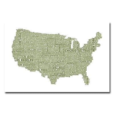 Trademark Fine Art Michael Tompsett 'US City Map XVIII' Canvas Art 16x24 Inches