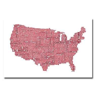 Trademark Fine Art Michael Tompsett 'US City Map XIV' Canvas Art 30x47 Inches