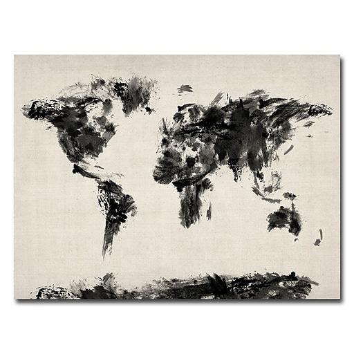 Trademark Fine Art Michael Tompsett 'Abstract Map of the World' Canvas Art 24x32 Inches