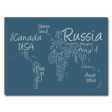 Trademark Fine Art Michael Tompsett 'Writing World Map' Canvas Art 18x24 Inches