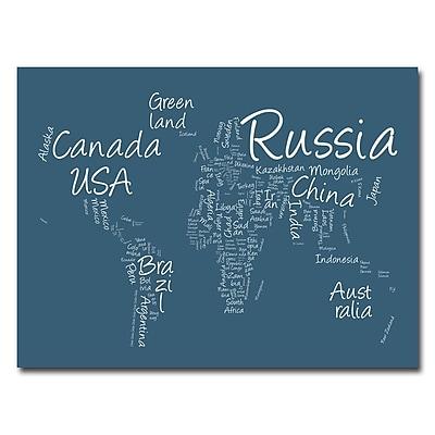 Trademark Fine Art Michael Tompsett 'Writing World Map' Canvas Art 18x24 Inches