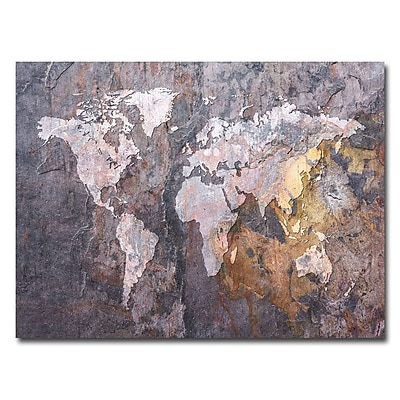 Trademark Fine Art Michael Tompsett 'World Map-Rock' Canvas Art 18x24 Inches