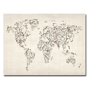 Trademark Fine Art Michael Tompsett 'World Map-Swirls' Canvas Art 35x47 Inches