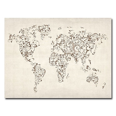 Trademark Fine Art Michael Tompsett 'World Map-Swirls' Canvas Art 24x32 Inches