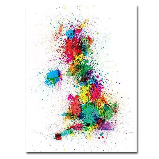 Trademark Fine Art Michael Tompsett 'UK-Paint Splashes' Canvas Art 35x47 Inches
