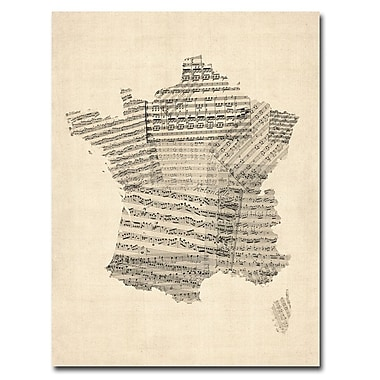 Trademark Fine Art Michael Tompsett 'France-Music Map' Canvas Art 18x24 Inches