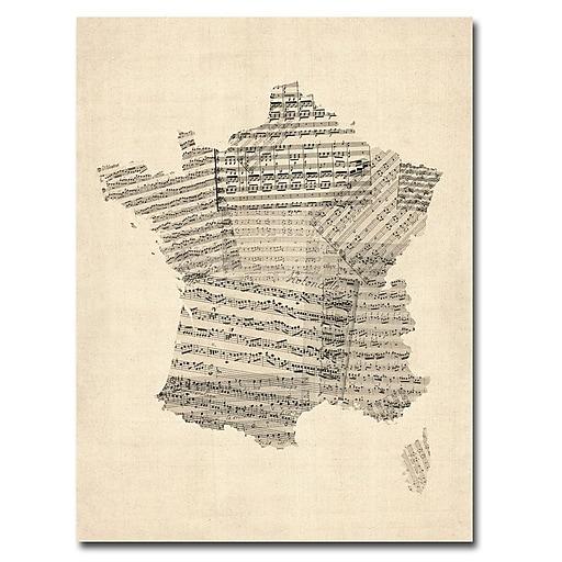 Trademark Fine Art Michael Tompsett 'France-Music Map' Canvas Art 35x47 Inches