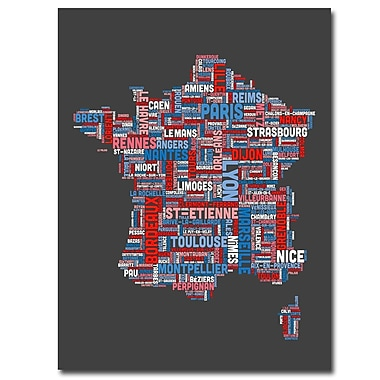 Trademark Fine Art Michael Tompsett 'France City Text Map' Canvas Art 35x47 Inches