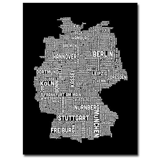 Trademark Fine Art Michael Tompsett 'Germany Text Map I' Canvas Art 18x24 Inches