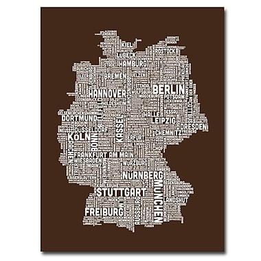 Trademark Fine Art Michael Tompsett 'Germany Text Map II' Canvas Art 35x47 Inches