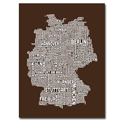Trademark Fine Art Michael Tompsett 'Germany Text Map II' Canvas Art 24x32 Inches
