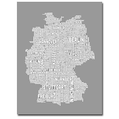 Trademark Fine Art Michael Tompsett 'Germany Text Map III' Canvas Art 18x24 Inches