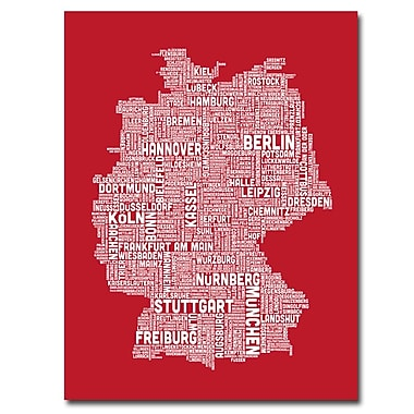 Trademark Fine Art Michael Tompsett 'Germany City Map I' Canvas Art 18x24 Inches