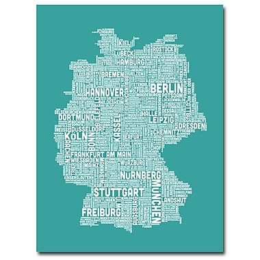 Trademark Fine Art Michael Tompsett 'Germany City Map III' Canvas Art 18x24 Inches
